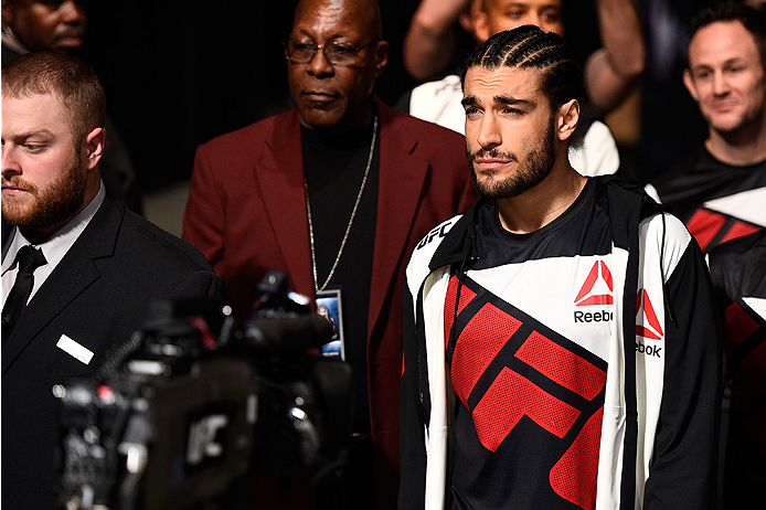 LAS VEGAS, NEVADA - DECEMBER 10:  Elias Theodorou enters the arena for his middleweight bout against Thiago Santos during the UFC Fight Night event at The Chelsea at the Cosmopolitan of Las Vegas on December 10, 2015 in Las Vegas, Nevada.  (Photo by Jeff