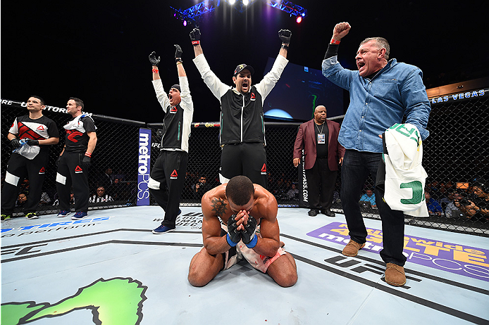 LAS VEGAS, NEVADA - DECEMBER 10:  Thiago Santos celebrates his win over in their middleweight bout during the UFC Fight Night event at The Chelsea at the Cosmopolitan of Las Vegas on December 10, 2015 in Las Vegas, Nevada.  (Photo by Jeff Bottari/Zuffa LL