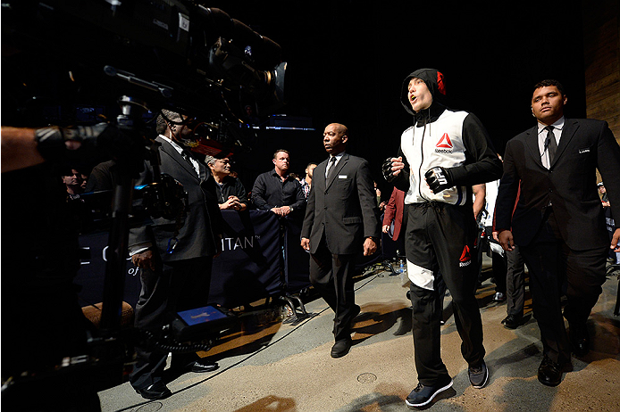 LAS VEGAS, NEVADA - DECEMBER 10:  Cody Pfister enters the arena for his lightweight bout against Sage Northcutt during the UFC Fight Night event at The Chelsea at the Cosmopolitan of Las Vegas on December 10, 2015 in Las Vegas, Nevada.  (Photo by \2069105