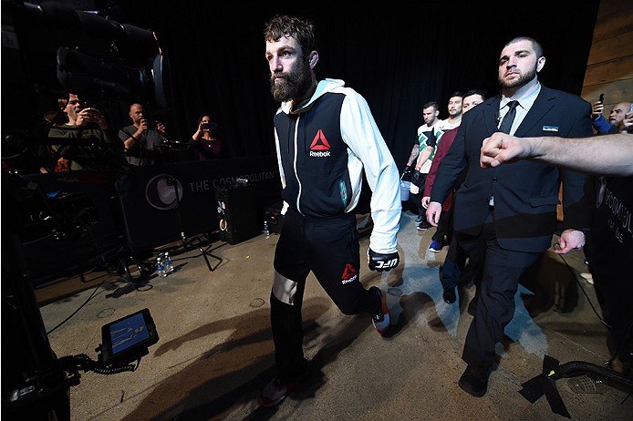 LAS VEGAS, NEVADA - DECEMBER 10:  Michael Chiesa enters the arena for his lightweight bout against Jim Miller during the UFC Fight Night event at The Chelsea at the Cosmopolitan of Las Vegas on December 10, 2015 in Las Vegas, Nevada.  (Photo by Jeff Botta