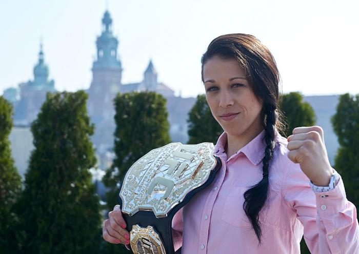 Newly crowned the strawweight champ in March 2015, Joanna returned home to Poland to show off her hardware and be celebrated as the country's first UFC champion. With the win, she also became the first European women's champ. (Photo by Adam Nurkiewicz/Zuf