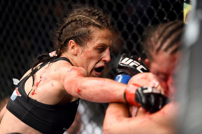 Joanna Jedrzejczyk put on a veritable striking clinic against Jessica Penne at Fight Night Berlin, ending the fight with a third round TKO. It would be the first of many successful title defenses for Jedrzejczyk. (Photo by Josh Hedges/Zuffa LLC)
