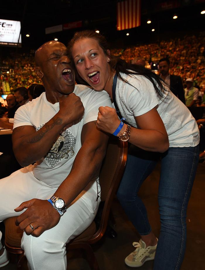 Game recognizes game. It didn't take long for Jedrzejczyk's Octagon skills to bring her recognition from other world class fighters, including Mike Tyson, pictured here at UFC 189. Photo by Jeff Bottari/Zuffa LLC)