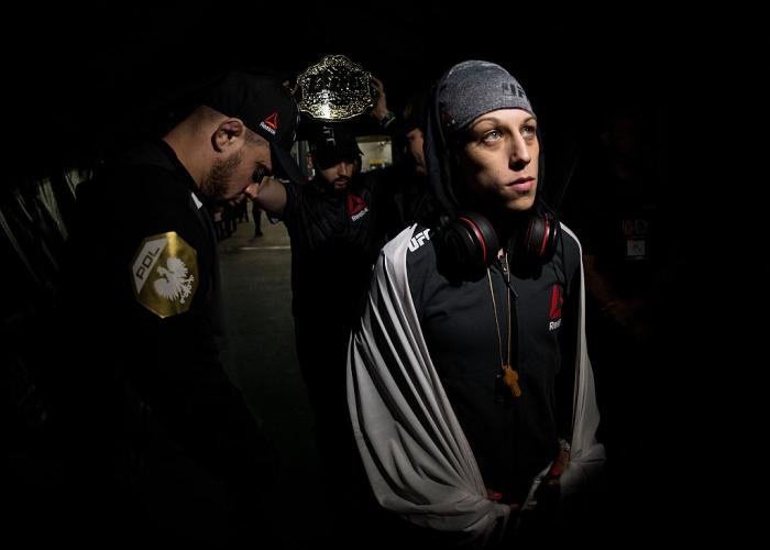 MELBOURNE, AUSTRALIA - NOVEMBER 15:  UFC women's strawweight champion Joanna Jedrzejczyk of Poland prepares to enter the Octagon before facing Valerie Letourneau during the UFC 193 event at Etihad Stadium on November 15, 2015 in Melbourne, Australia.  (Ph
