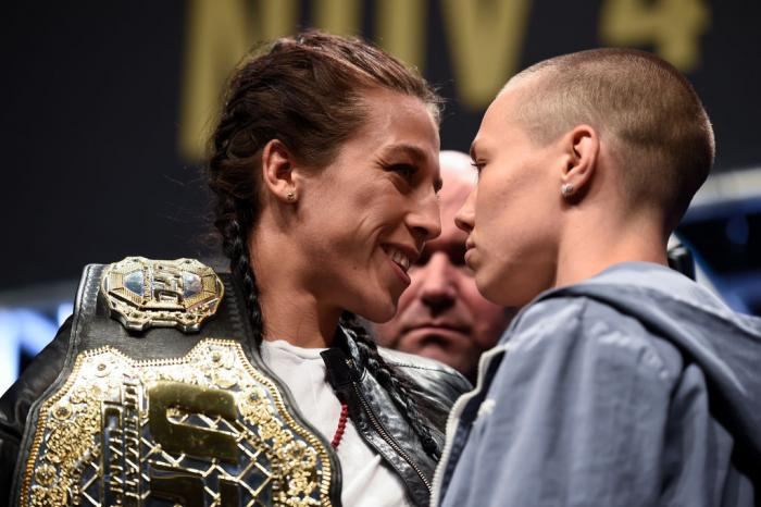 LAS VEGAS, NV - OCTOBER 06:   (L-R) Opponents Joanna Jedrzejczyk and Rose Namajunas face off during the UFC 217 news conference inside T-Mobile Arena on October 6, 2017 in Las Vegas, Nevada. (Photo by Brandon Magnus/Zuffa LLC/Zuffa LLC via Getty Images)