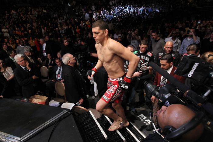 LAS VEGAS - FEBRUARY 04:  Nick Diaz enters the Octagon before his fight with Carlos Condit during the UFC 143 event at Mandalay Bay Events Center on February 4, 2012 in Las Vegas, Nevada.  (Photo by Nick Laham/Zuffa LLC/Zuffa LLC via Getty Images) *** Loc