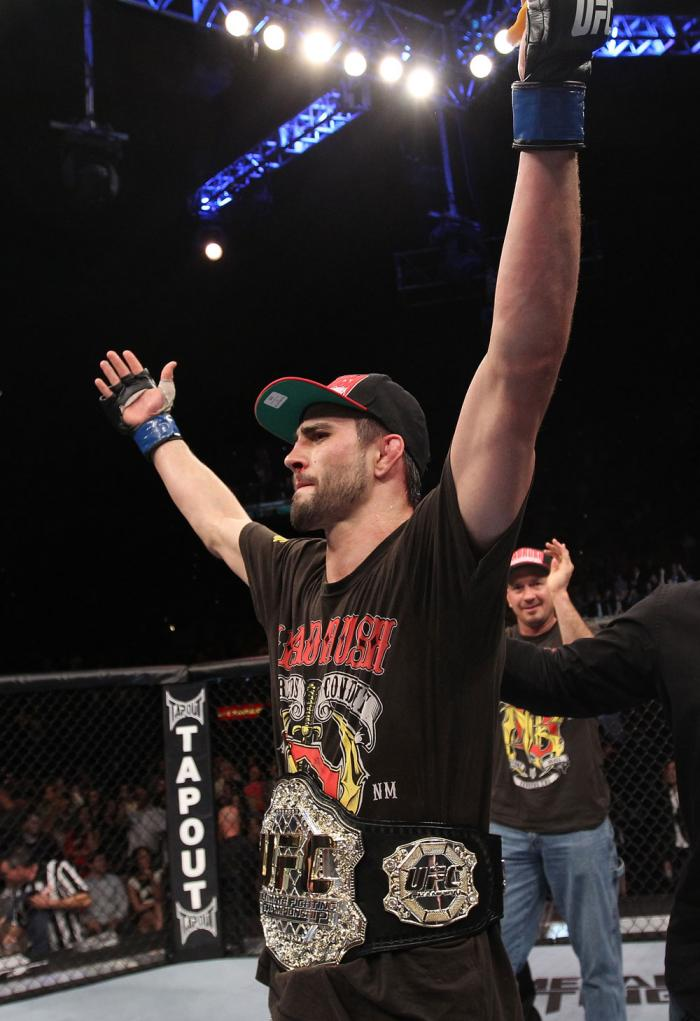 LAS VEGAS - FEBRUARY 04:  Carlos Condit celebrates his win over Nick Diaz during the UFC 143 event at Mandalay Bay Events Center on February 4, 2012 in Las Vegas, Nevada.  (Photo by Nick Laham/Zuffa LLC/Zuffa LLC via Getty Images) *** Local Caption *** Ca
