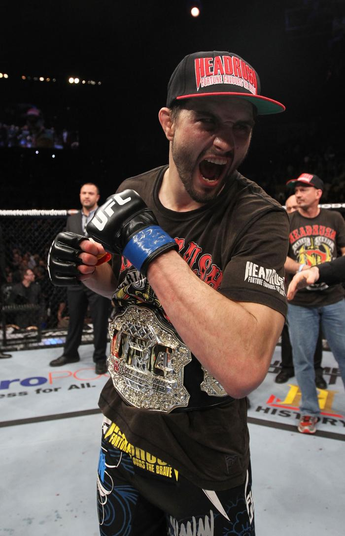 LAS VEGAS - FEBRUARY 04:  Carlos Condit reacts to his win over Nick Diaz during the UFC 143 event at Mandalay Bay Events Center on February 4, 2012 in Las Vegas, Nevada.  (Photo by Nick Laham/Zuffa LLC/Zuffa LLC via Getty Images) *** Local Caption *** Car