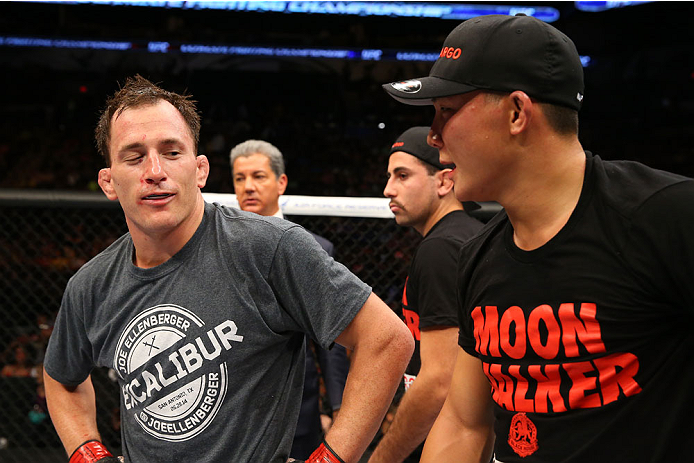 SAN ANTONIO, TX - JUNE 28:  (L-R) Joe Ellenberger and James Moontasri speak after their lightweight bout at the AT&T Center on June 28, 2014 in San Antonio, Texas. (Photo by Ed Mulholland/Zuffa LLC/Zuffa LLC via Getty Images)