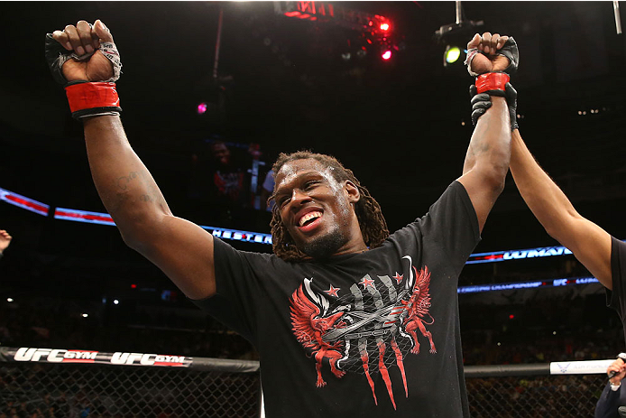 SAN ANTONIO, TX - JUNE 28:  Clint Hester reacts to his victory over Antonio Braga Neto in their middleweight bout at the AT&T Center on June 28, 2014 in San Antonio, Texas. (Photo by Ed Mulholland/Zuffa LLC/Zuffa LLC via Getty Images)