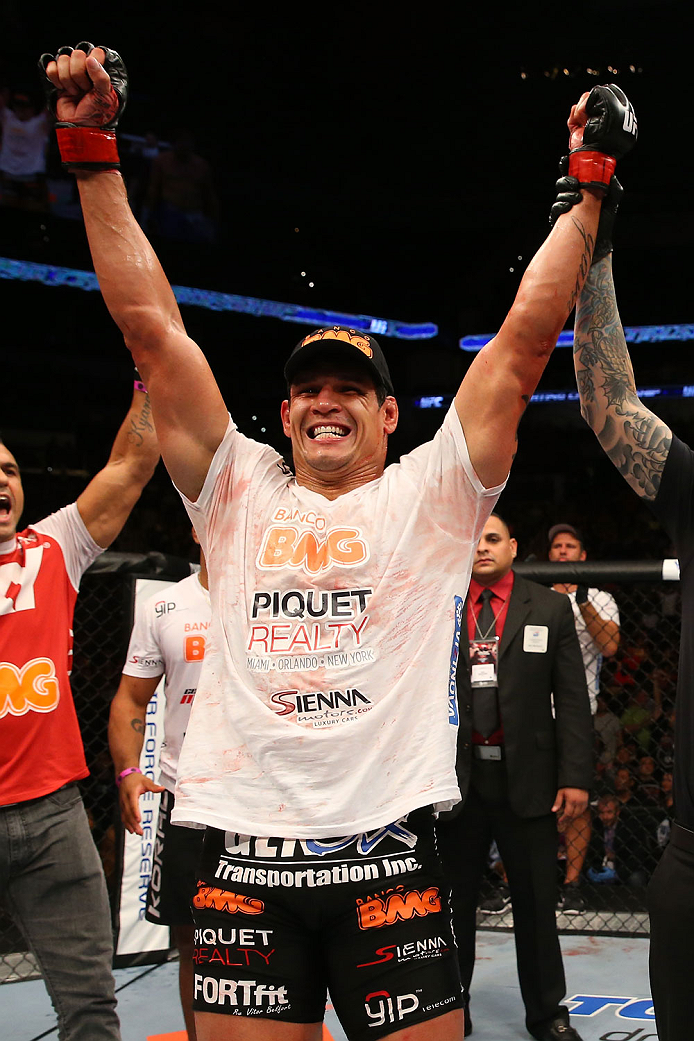 SAN ANTONIO, TX - JUNE 28:  Cezar Ferreira reacts to his victory over Andrew Craig in their middleweight bout at the AT&T Center on June 28, 2014 in San Antonio, Texas. (Photo by Ed Mulholland/Zuffa LLC/Zuffa LLC via Getty Images)