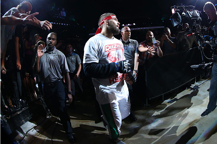 SAN ANTONIO, TX - JUNE 28:  Jeremy Stephens walks to the Octagon to face Cub Swanson in their featherweight bout at the AT&T Center on June 28, 2014 in San Antonio, Texas. (Photo by Ed Mulholland/Zuffa LLC/Zuffa LLC via Getty Images)