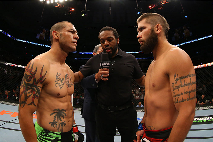 SAN ANTONIO, TX - JUNE 28:  Cub Swanson (left) and Jeremy Stephens face off before their featherweight bout at the AT&T Center on June 28, 2014 in San Antonio, Texas. (Photo by Ed Mulholland/Zuffa LLC/Zuffa LLC via Getty Images)