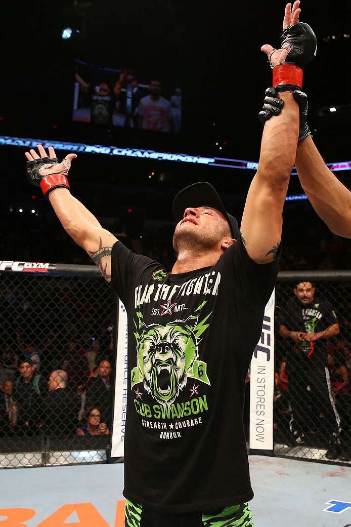 SAN ANTONIO, TX - JUNE 28:  Cub Swanson reacts to his victory over Jeremy Stephens in their featherweight bout at the AT&T Center on June 28, 2014 in San Antonio, Texas. (Photo by Ed Mulholland/Zuffa LLC/Zuffa LLC via Getty Images)