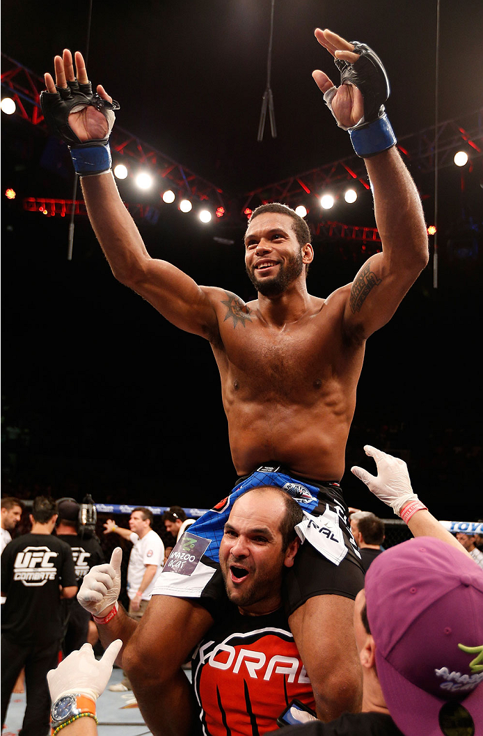 NATAL, BRAZIL - MARCH 23:  Thiago Santos reacts after his TKO victory over Ronny Markes in their middleweight bout during the UFC Fight Night event at Ginasio Nelio Dias on March 23, 2014 in Natal, Brazil. (Photo by Josh Hedges/Zuffa LLC/Zuffa LLC via Get