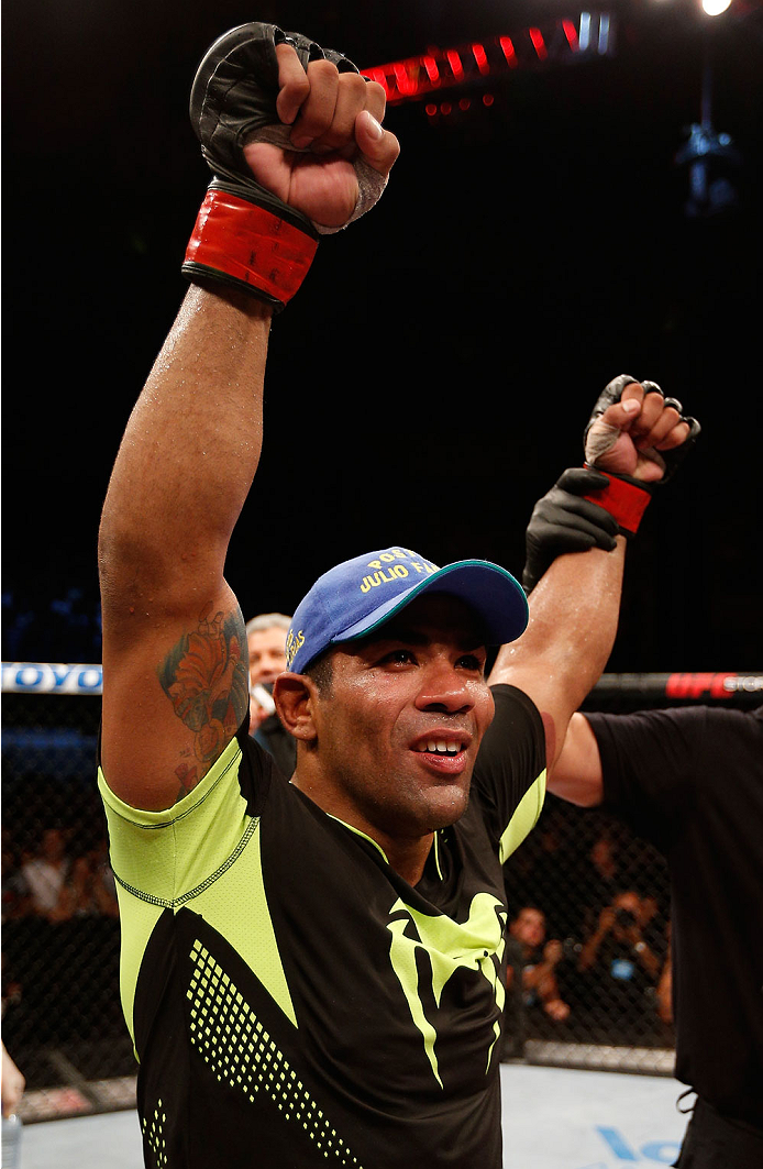 NATAL, BRAZIL - MARCH 23:  Michel Prazeres reacts after his decision victory over Maribek Taisumov in their lightweight bout during the UFC Fight Night event at Ginasio Nelio Dias on March 23, 2014 in Natal, Brazil. (Photo by Josh Hedges/Zuffa LLC/Zuffa L