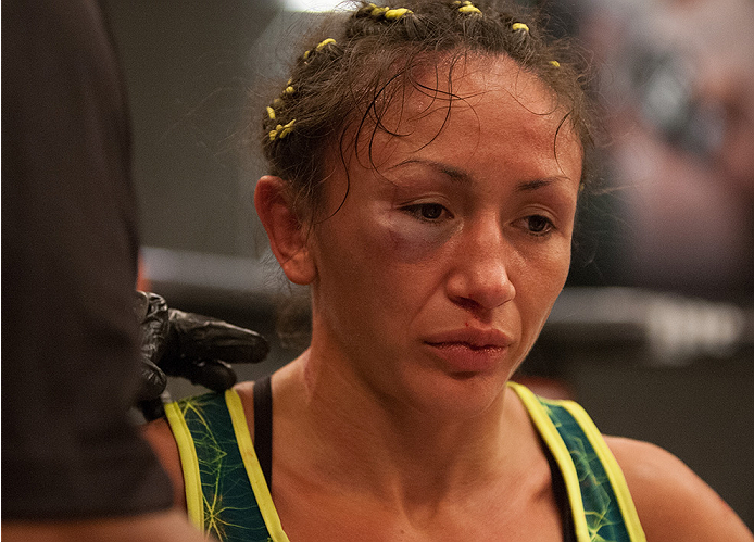 LAS VEGAS, NV - AUGUST 14:  Team Pettis fighter Carla Esparza heads to her corner after fighting team Pettis fighter Jessica Penne during filming of season twenty of The Ultimate Fighter on August 14, 2014 in Las Vegas, Nevada. (Photo by Brandon Magnus/Zu