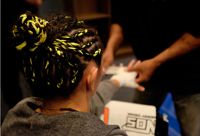 LAS VEGAS, NV - AUGUST 14:  Team Pettis fighter Carla Esparza gets her hands wrapped before facing team Pettis fighter Jessica Penne during filming of season twenty of The Ultimate Fighter on August 14, 2014 in Las Vegas, Nevada. (Photo by Brandon Magnus/