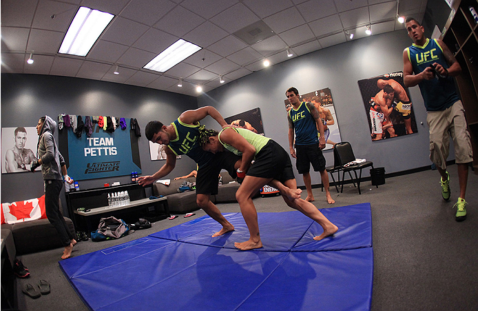 LAS VEGAS, NV - AUGUST 14:  Team Pettis fighter Carla Esparza warms up before facing team Pettis fighter Jessica Penne during filming of season twenty of The Ultimate Fighter on August 14, 2014 in Las Vegas, Nevada. (Photo by Brandon Magnus/Zuffa LLC/Zuff