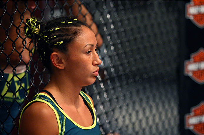 LAS VEGAS, NV - AUGUST 14:  Team Pettis fighter Carla Esparza enters the Octagon before facing team Pettis fighter Jessica Penne during filming of season twenty of The Ultimate Fighter on August 14, 2014 in Las Vegas, Nevada. (Photo by Brandon Magnus/Zuff