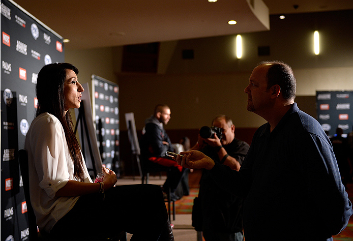 LAS VEGAS, NEVADA - DECEMBER 10:  Jessica Penne speaks with the media during The Ultimate Fighter Finale Ultimate Media Day at the Palms Casino Resort on December 10, 2014 in Las Vegas, Nevada. (Photo by Brandon Magnus/Zuffa LLC/Zuffa LLC via Getty Images