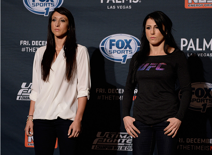 LAS VEGAS, NEVADA - DECEMBER 10:  (L-R) Jessica Penne and Randa Markos face-off during The Ultimate Fighter Finale Ultimate Media Day at the Palms Casino Resort on December 10, 2014 in Las Vegas, Nevada. (Photo by Brandon Magnus/Zuffa LLC/Zuffa LLC via Ge