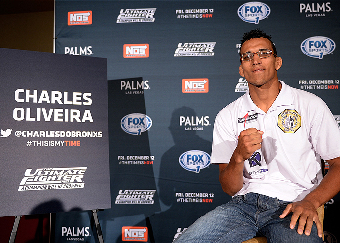 LAS VEGAS, NEVADA - DECEMBER 10:  Charles Oliveira speaks with the media during The Ultimate Fighter Finale Ultimate Media Day at the Palms Casino Resort on December 10, 2014 in Las Vegas, Nevada. (Photo by Brandon Magnus/Zuffa LLC/Zuffa LLC via Getty Ima