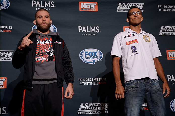 LAS VEGAS, NEVADA - DECEMBER 10:  (L-R) Jeremy Stephens and Charles Oliveira face-off during The Ultimate Fighter Finale Ultimate Media Day at the Palms Casino Resort on December 10, 2014 in Las Vegas, Nevada. (Photo by Brandon Magnus/Zuffa LLC/Zuffa LLC