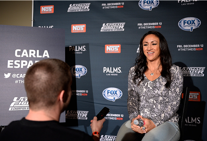 LAS VEGAS, NEVADA - DECEMBER 10:  Carla Esparza speaks with the media during The Ultimate Fighter Finale Ultimate Media Day at the Palms Casino Resort on December 10, 2014 in Las Vegas, Nevada. (Photo by Brandon Magnus/Zuffa LLC/Zuffa LLC via Getty Images