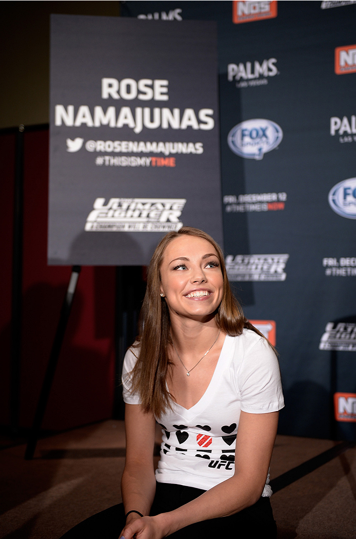 LAS VEGAS, NEVADA - DECEMBER 10:  Rose Namajunas speaks with the media during The Ultimate Fighter Finale Ultimate Media Day at the Palms Casino Resort on December 10, 2014 in Las Vegas, Nevada. (Photo by Brandon Magnus/Zuffa LLC/Zuffa LLC via Getty Image