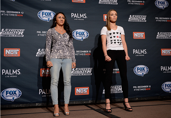 LAS VEGAS, NEVADA - DECEMBER 10:  (L-R) Carla Esparza and Rose Namajunas face-off during The Ultimate Fighter Finale Ultimate Media Day at the Palms Casino Resort on December 10, 2014 in Las Vegas, Nevada. (Photo by Brandon Magnus/Zuffa LLC/Zuffa LLC via
