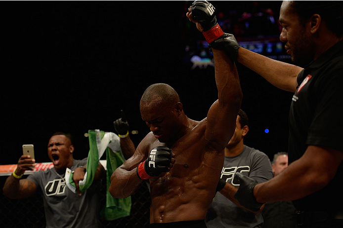 LAS VEGAS, NV - JULY 12:  Kamaru Usman reacts to his victory over Hayder Hassan in their welterweight bout during the Ultimate Fighter Finale inside MGM Grand Garden Arena on July 12, 2015 in Las Vegas, Nevada.  (Photo by Brandon Magnus/Zuffa LLC/Zuffa LL