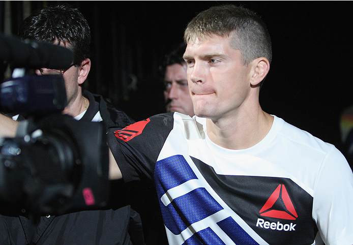 LAS VEGAS, NV - JULY 12:  Stephen Thompson walks to the Octagon to face Jake Ellenberger in their welterweight bout during the Ultimate Fighter Finale inside MGM Grand Garden Arena on July 12, 2015 in Las Vegas, Nevada.  (Photo by Mitch Viquez/Zuffa LLC/Z