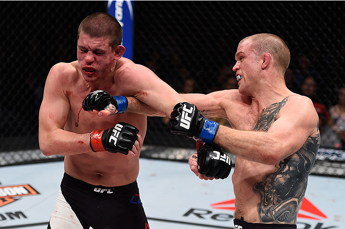 LAS VEGAS, NV - DECEMBER 11: (R-L) Evan Dunham punches Joe Lauzon in their lightweight bout during the TUF Finale event inside The Chelsea at The Cosmopolitan of Las Vegas on December 11, 2015 in Las Vegas, Nevada.  (Photo by Jeff Bottari/Zuffa LLC/Zuffa