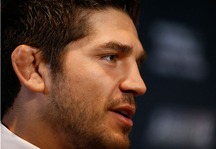 QUEBEC CITY, CANADA - APRIL 14:  Patrick Cote interacts with media during the UFC Ultimate Media Day at the TRYP Quebec Hotel on April 14, 2014 in Quebec City, Quebec, Canada. (Photo by Josh Hedges/Zuffa LLC/Zuffa LLC via Getty Images)
