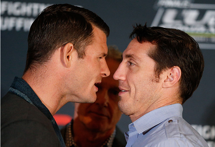 QUEBEC CITY, CANADA - APRIL 14:  (L-R) Opponents Michael Bisping and Tim Kennedy face off during the UFC Ultimate Media Day at the TRYP Quebec Hotel on April 14, 2014 in Quebec City, Quebec, Canada. (Photo by Josh Hedges/Zuffa LLC/Zuffa LLC via Getty Imag