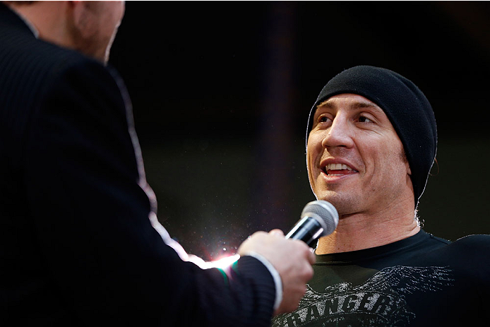 QUEBEC CITY, CANADA - APRIL 13:  Tim Kennedy is interviewed after an open training session for fans and media at the Centre Commercial Place Fleur de Lys on April 13, 2014 in Quebec City, Quebec, Canada. (Photo by Josh Hedges/Zuffa LLC/Zuffa LLC via Getty