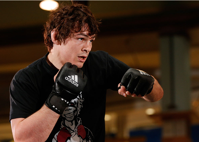 QUEBEC CITY, CANADA - APRIL 13:  Olivier Aubin-Mercier holds an open training session for fans and media at the Centre Commercial Place Fleur de Lys on April 13, 2014 in Quebec City, Quebec, Canada. (Photo by Josh Hedges/Zuffa LLC/Zuffa LLC via Getty Imag