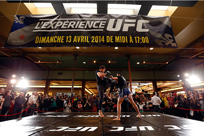 QUEBEC CITY, CANADA - APRIL 13:  Patrick Cote holds an open training session for fans and media at the Centre Commercial Place Fleur de Lys on April 13, 2014 in Quebec City, Quebec, Canada. (Photo by Josh Hedges/Zuffa LLC/Zuffa LLC via Getty Images)