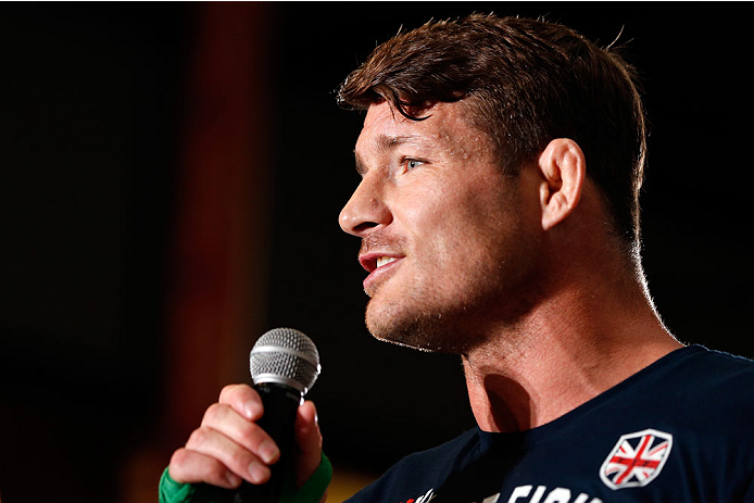QUEBEC CITY, CANADA - APRIL 13:  Michael Bisping interacts with the audience after an open training session for fans and media at the Centre Commercial Place Fleur de Lys on April 13, 2014 in Quebec City, Quebec, Canada. (Photo by Josh Hedges/Zuffa LLC/Zu
