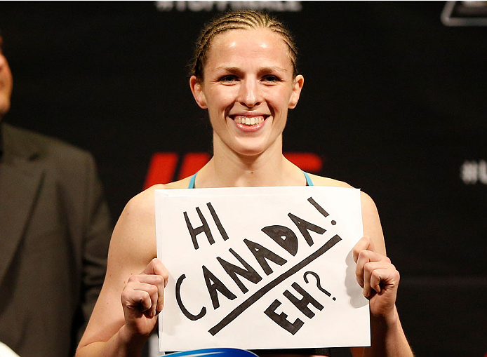 QUEBEC CITY, CANADA - APRIL 15:  Sarah Kaufman weighs in during the TUF Nations Finale weigh-in at Colisee Pepsi on April 15, 2014 in Quebec City, Quebec, Canada. (Photo by Josh Hedges/Zuffa LLC/Zuffa LLC via Getty Images)