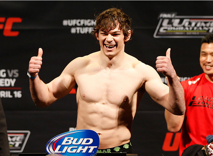 QUEBEC CITY, CANADA - APRIL 15:  Olivier Aubin-Mercier weighs in during the TUF Nations Finale weigh-in at Colisee Pepsi on April 15, 2014 in Quebec City, Quebec, Canada. (Photo by Josh Hedges/Zuffa LLC/Zuffa LLC via Getty Images)