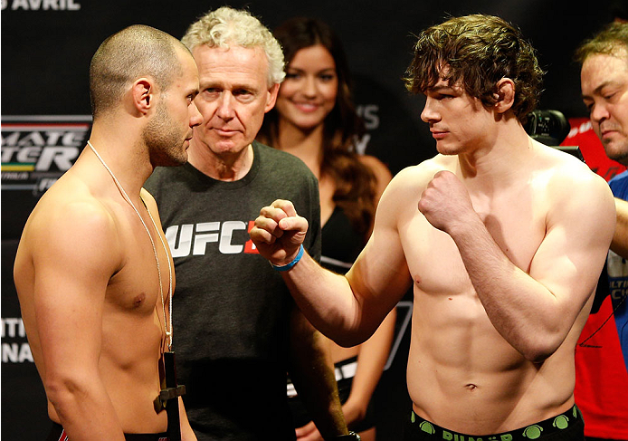 QUEBEC CITY, CANADA - APRIL 15:  (L-R) Opponents Chad Laprise and Olivier Aubin-Mercier face off during the TUF Nations Finale weigh-in at Colisee Pepsi on April 15, 2014 in Quebec City, Quebec, Canada. (Photo by Josh Hedges/Zuffa LLC/Zuffa LLC via Getty