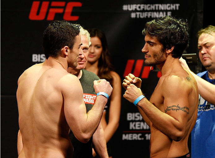 QUEBEC CITY, CANADA - APRIL 15:  (L-R) Opponents Sheldon Wescott and Elias Theodorou face off during the TUF Nations Finale weigh-in at Colisee Pepsi on April 15, 2014 in Quebec City, Quebec, Canada. (Photo by Josh Hedges/Zuffa LLC/Zuffa LLC via Getty Ima