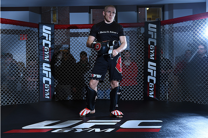 BOSTON, MA - JANUARY 15:  UFC featherweight Dennis Siver of Germany holds an open training session for the media and fans at UFC Gym on January 15, 2015 in Boston, Massachusetts. (Photo by Jeff Bottari/Zuffa LLC/Zuffa LLC via Getty Images)