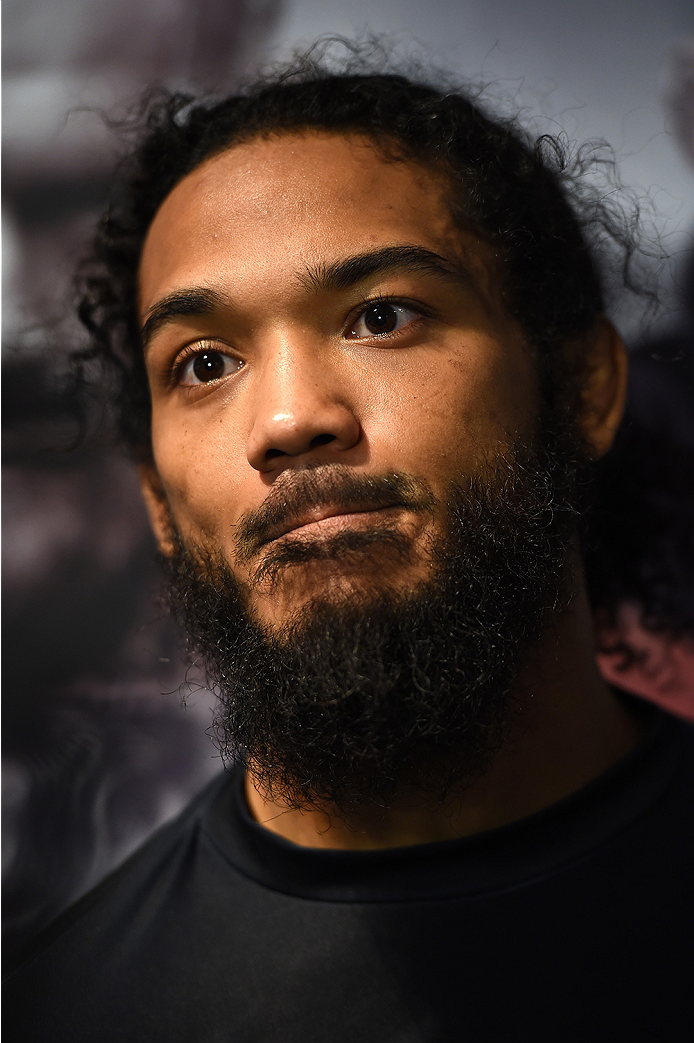 BOSTON, MA - JANUARY 15:  UFC lightweight Benson 'Smooth' Henderson speaks to the media during an open workouts session at UFC Gym on January 15, 2015 in Boston, Massachusetts. (Photo by Jeff Bottari/Zuffa LLC/Zuffa LLC via Getty Images)