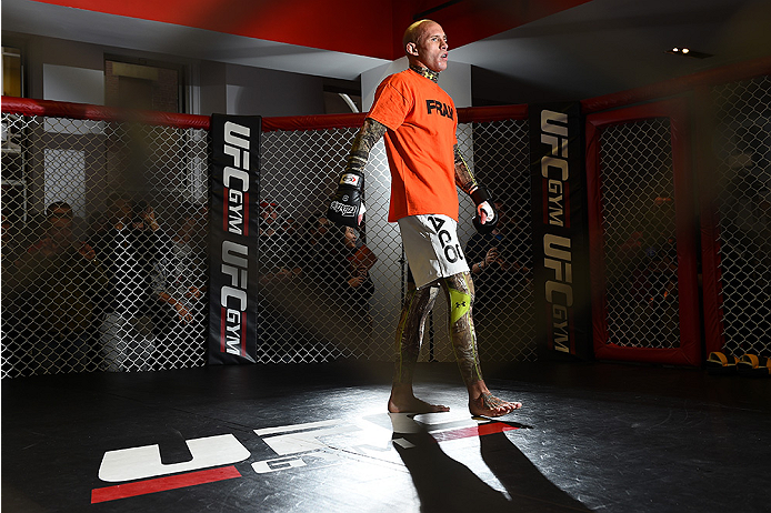 BOSTON, MA - JANUARY 15:  UFC lightweight Donald 'Cowboy' Cerrone works out for the media and fans during the open workouts session at UFC Gym on January 15, 2015 in Boston, Massachusetts. (Photo by Jeff Bottari/Zuffa LLC/Zuffa LLC via Getty Images)