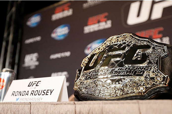 LAS VEGAS, NV - FEBRUARY 20:  Ronda Rousey's UFC women's bantamweight championship belt is seen sitting on a table before the final UFC 170 pre-fight press conference at the Mandalay Bay Resort and Casino on February 20, 2014 in Las Vegas, Nevada. (Photo