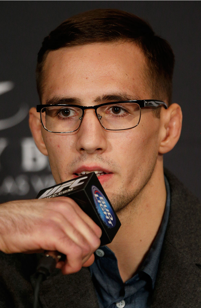 LAS VEGAS, NV - FEBRUARY 20:  Rory MacDonald interacts with media during the final UFC 170 pre-fight press conference at the Mandalay Bay Resort and Casino on February 20, 2014 in Las Vegas, Nevada. (Photo by Josh Hedges/Zuffa LLC/Zuffa LLC via Getty Imag