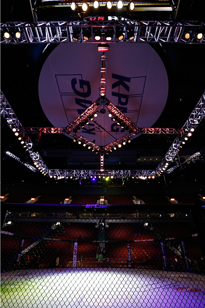 VANCOUVER, BC - JUNE 14:  A general view of the Octagon before the UFC 175 event at Rogers Arena on June 14, 2014 in Vancouver, Canada.  (Photo by Josh Hedges/Zuffa LLC/Zuffa LLC via Getty Images)
